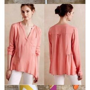 Anthropologie Maeve Pink Woven Peplum Blouse Top